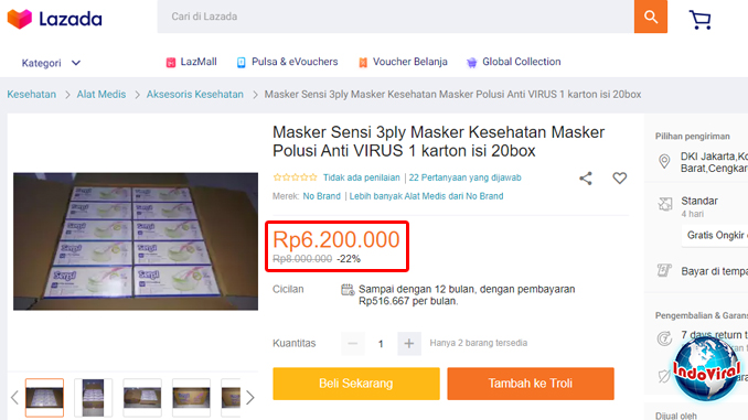 Harga Masker di Indonesia Lebih Mahal Dari Emas