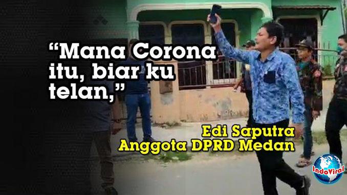 Anggota DPRD Medan Tantang Polisi Telan Virus Corona
