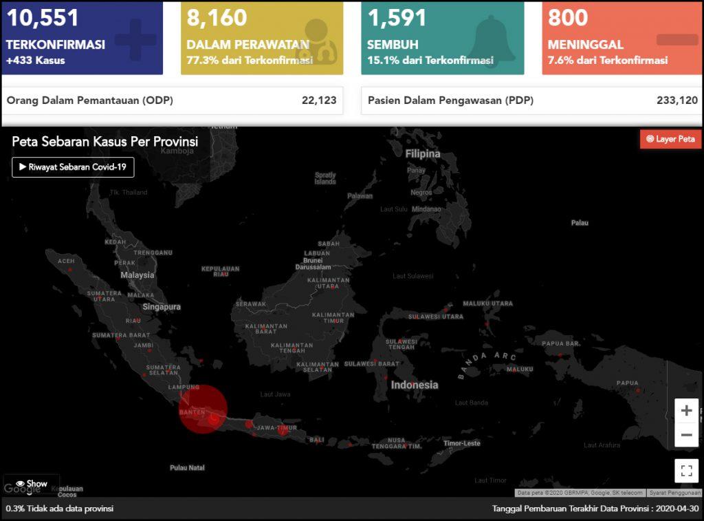 Indonesia Corona Map 1Mei2020