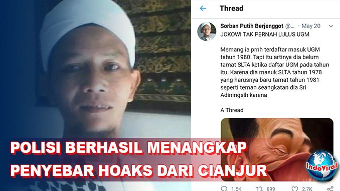 Polisi Ringkus Pria Cianjur yang Posting Hoaks 'Jokowi Tak Pernah Lulus UGM'